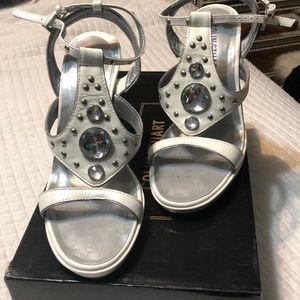 Colin Stuart white sandals/rhinestone/studs